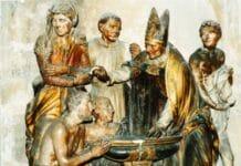 Agustinus wordt gedoopt door Ambrosius van Milaan. Foto: heiligen.net