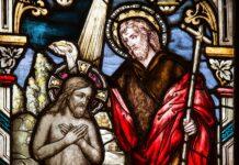 Glas-in-lood Doop van de Heer